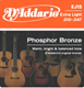 D'Addario 010 EJ15-3D Phosphor Bronze Acoustic Guitar Strings, Extra Light